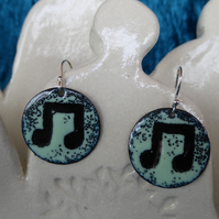 Musical Note Earring, Enamel on Copper