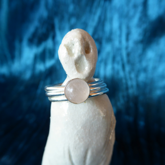Three Stacking Rings, Sterling Silver with Rose Quartz Cabochons