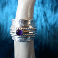 Spinner Ring, Sterling Silver and Amethyst cabochon