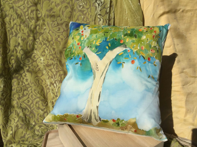 Silk cushion with original one off painting of a tree in the sunshine.