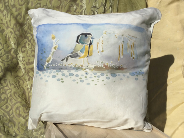 Handmade Silk cushion with original hand painted design of birds.Feather pad .