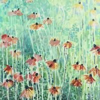 Original one off mixed media painting of echinacea in a summer garden.