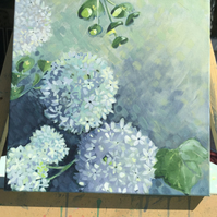 Original, acrylic painting. A posy of guelder rose and euphorbia blooms.