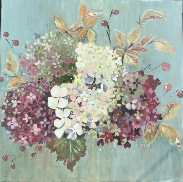 Original hand painted acrylic picture of hydrangeas in autumn colours. One off.