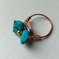 Turquoise Gemstone Bronze Flower Ring, Bronze Anglo Saxon Wire Wrapped Ring
