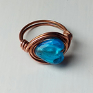 Blue Heart Glass Copper Ring, Wire Wrapped Copper Glass Ring, UK S, US size 9