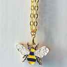Bede's Bee, Bumble Bee Necklace, Enamel Bumble Bee Gold Plated Pendant Necklace