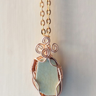 Wire Wrapped Pottery Shard Rose Gold Pendant Necklace Victorian Pottery Pendant