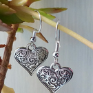 Sterling Silver Heart Earrings, Hand Made Sterling Silver Earrings