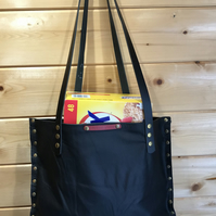 Handmade Large Black Recycled Leather Shopper.Tote