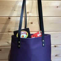 Recycled Purple Leather Tote-Shopper