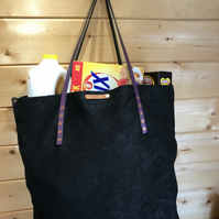 Very Large Recycled Suede Shopper-Tote with Deep Gusset