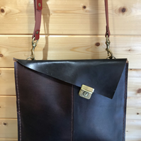 Recycled Saddle Leather into a Slim Messenger Bag
