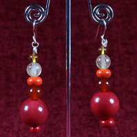 Red Rondelles Earrings.