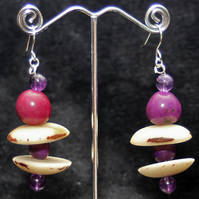 Purple Striped Earrings.