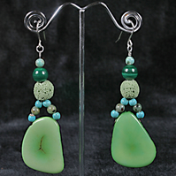 Turquoise Tagua Earrings.
