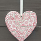 Medium mosaic Staffordshire Dog Rose Pink heart