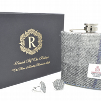 Fathers Day Gift - Harris Tweed Hip Flask and Cufflinks Gift Set