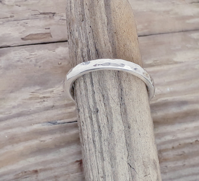 Hammered Sterling Silver ring size Q and a half