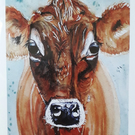 Jersey Cow Watercolour card