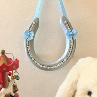 Decorated horseshoe new baby blue