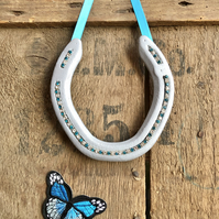 Decorated horseshoe light blue turquoise diamante