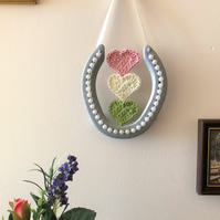Decorated horseshoe handmade crochet hearts pastel