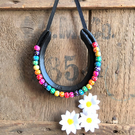 Decorated horseshoe multicoloured rainbow beads