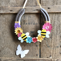 Decorated horseshoe fun bees and flowers
