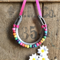 Decorated horseshoe multicoloured rainbow beads spotty