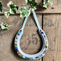 Decorated horseshoe multi coloured mixed beads