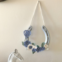 Decorated horseshoe handmade crochet flowers and heart