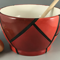 Red and black ceramic bowl