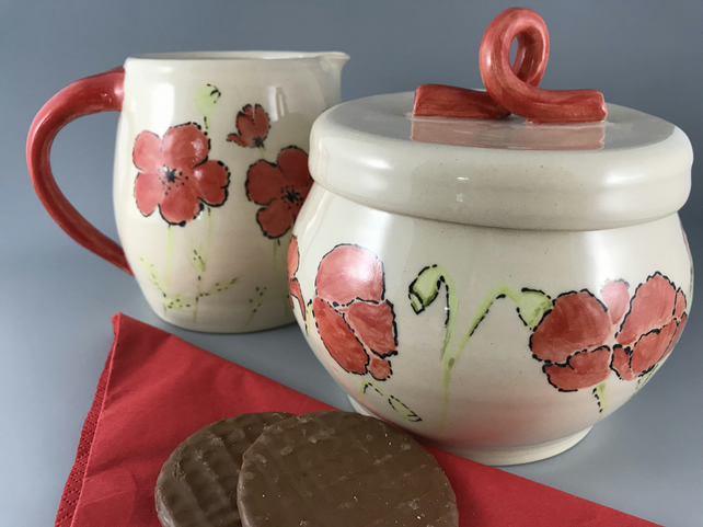 Ceramic Poppy Jug and Cookie Jar Set