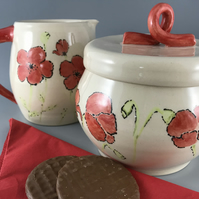 Jug and cookie jar, handcrafted ceramic, poppy