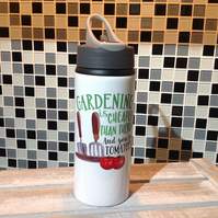 Gardening Is Cheaper Than Therapy Water Bottle, Personalised Water Bottle, Reusa