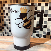Queen Bee Travel Mug, Bee Travel Mug, Personalised Bee Travel Mug