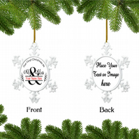 Personalised Christmas Bauble - Snowflake - Our First Christmas As Mr & Mrs