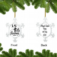 Personalised Christmas Bauble - Snowflake - Baby First Christmas, Custom Bauble