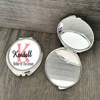 Personalised Mother Of The Groom wedding gift, Round Compact Mirror