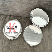 Personalised Mother Of The Bride wedding gift, Round Compact Mirror