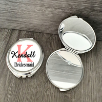 Personalised Bridesmaid Wedding Gift, Round Compact Mirror
