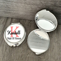 Personalised Maid Of Honour Wedding Gift, Round Compact Mirror