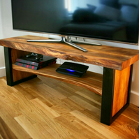 Live edge solid wood and black steel TV cabinet