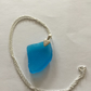 Sterling Silver Necklace with bright blue sea glass pendant