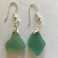Pale green sea glass drop earrings for pierced ears