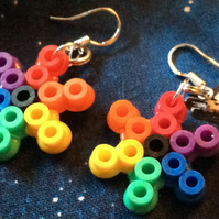 Hama bead star rainbow earrings