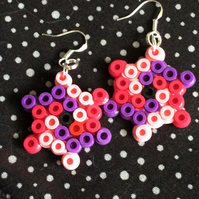 Hama bead swirl earrings