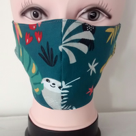 Handmade 3 layers animal sloth reusable adult face mask.
