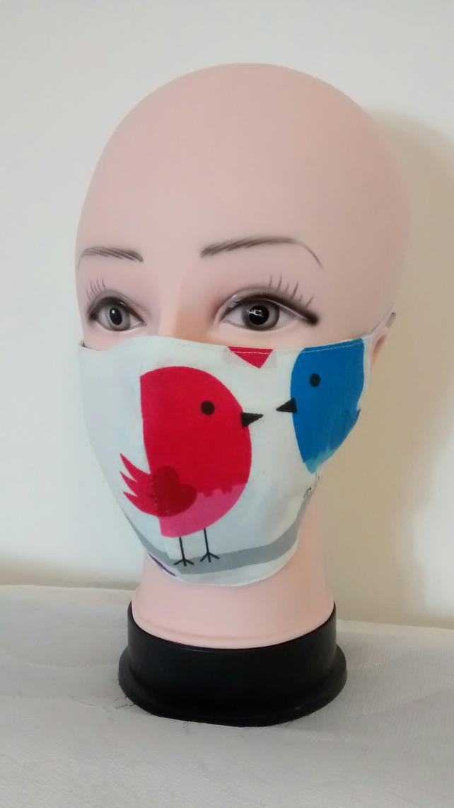 Handmade 3 layers birds reusable adult face mask.